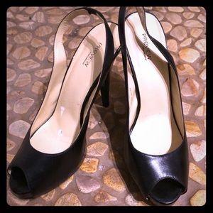 EUC black peep-toe heels 9.5